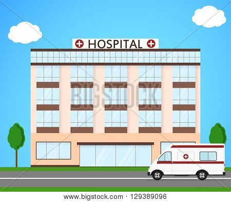 Hospital and ambulance. Flat style. Street landscape. The building of a clinic. Ambulance for the sick. A civilian medical institution. Vector illustration.