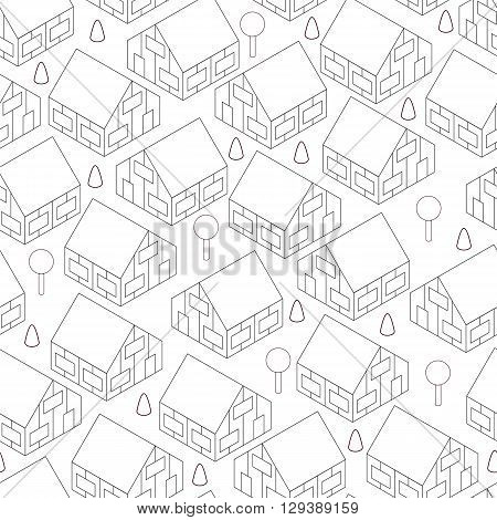 Town in isometric view. Seamless pattern with houses. Linear style. Black and white background. Two-storey village houses. Country cottage village. Vector illustration.