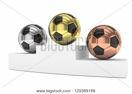 Three gloss soccer balls on white pedestal. 3D rendering.