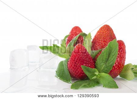 strawberry mint and ice  isolated on white