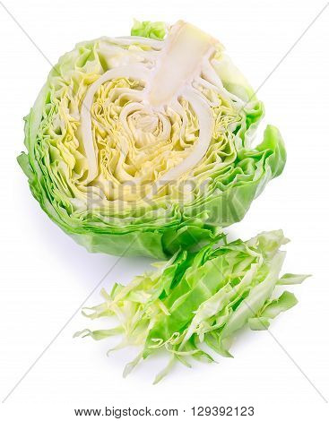 sliced green cabbage isolated on white.Cut green cabbage isolated on white. Vegetable half of green cabbage isolated