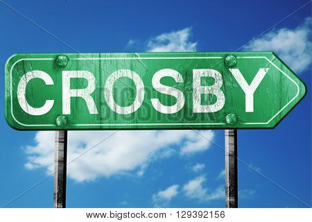 Crosby, 3D rendering, a vintage green direction sign
