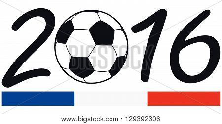 lettering 2016 with soccer ball and france national colors