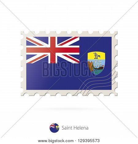 Postage Stamp With The Image Of Saint Helena Flag.