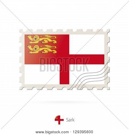 Postage Stamp With The Image Of Sark Flag.