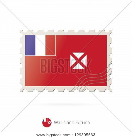 Postage Stamp With The Image Of Wallis And Futuna Flag.