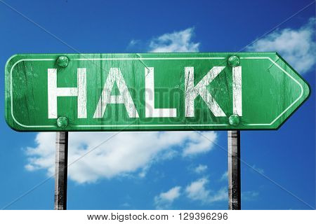 Halki, 3D rendering, a vintage green direction sign