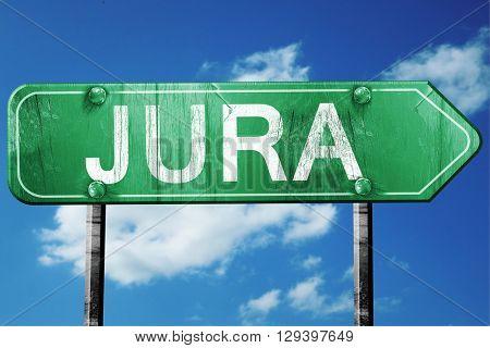 Jura, 3D rendering, a vintage green direction sign