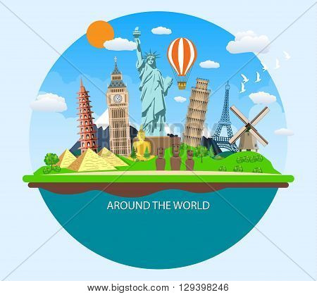 World Travel. Planning summer vacations. Summer holiday. Tourism and vacation theme. postcard with famous world landmarks icons. Flat design vector illustration.  travel and vacations concept