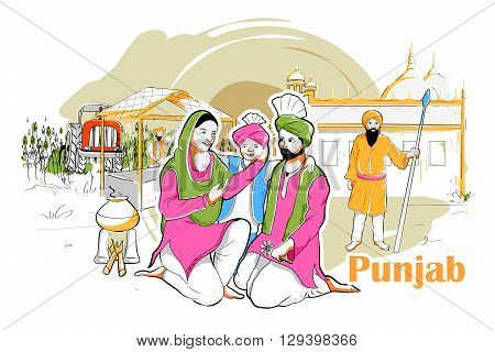 easy to edit vector illustration of people and culture of Punjab, India poster