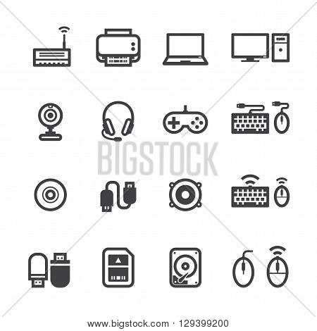 Computer icons and accessory icons  with White Background