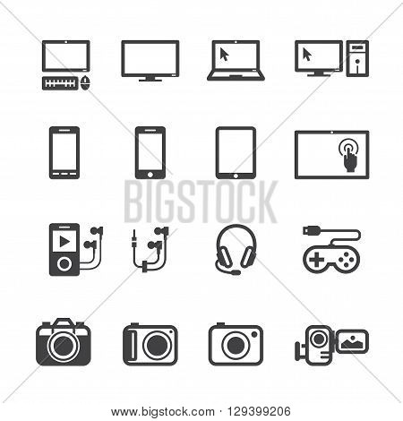 Electronic Devices icon set with White Background