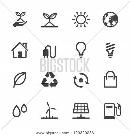 Ecology and environment icon set with White Background