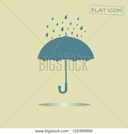 Flat umbrella icon. Blue umbrella on light beige background. Icon vector illustration