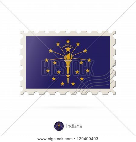 Postage Stamp With The Image Of Indiana State Flag.