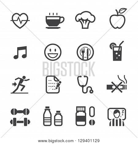 Health and Wellness icon set with White Background