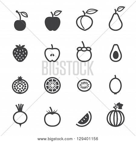 Fruits and Vegetables icon set with White Background