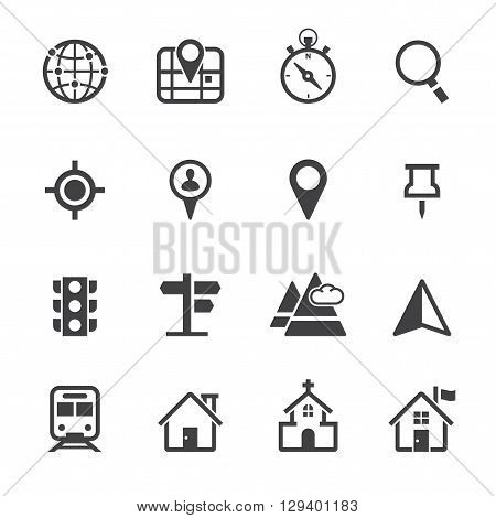 Map and Location icon set with White Background