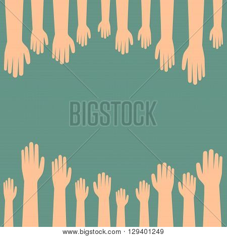 Hands raised. cartoon hand vote concept vector illustration.