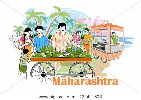 easy to edit vector illustration of people and culture of Maharastra, India poster