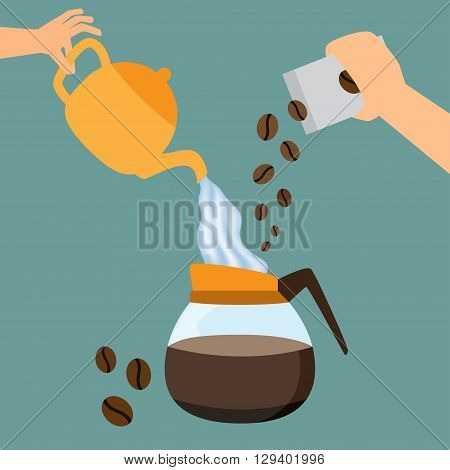 Making coffee concept. hand pouring hot water and coffee bean into coffee pot. vector illustration.