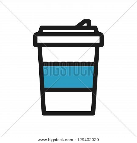 Icon with to go coffee cup with blue holder
