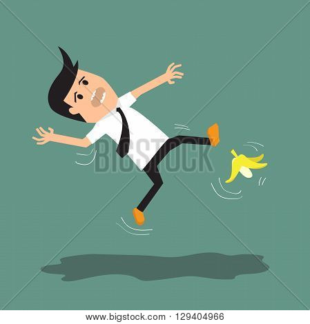 Businessman slipping on a banana peel. vector illustration.