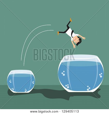Cartoon businessman jumping out from small to a bigger fish bowl. vector illustration.