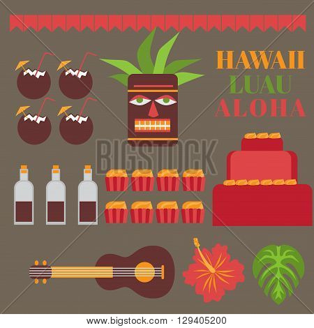 Celebration on hawaii island, Luau party elements.   Exotic vacation, summer weekend, hawaiian flowers, tiki mask, ukulele guitar, sweet and coconut drink isolated