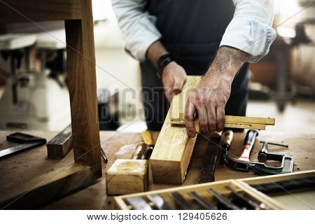 Carpenter Craftmanship Carpentry Handicraft Wooden Workshop Concept poster