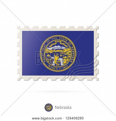 Postage Stamp With The Image Of Nebraska State Flag.