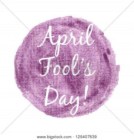 April Fool's Day Card Lettering On Gold Background Vector Illustration. Lettering Inscription For Ca