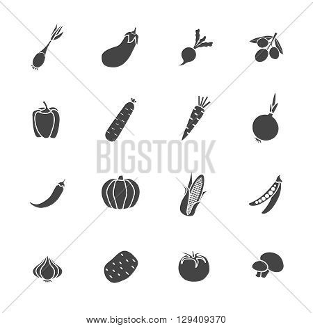 Vegetables sillhouette Isolated icon flat set with different variants of food in black style Vector Illustration