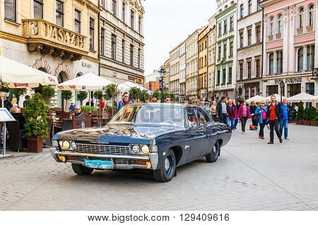 KRAKOW POLAND - MAY 15 2015: Classic old cars on the rally of vintage cars in Krakow Poland