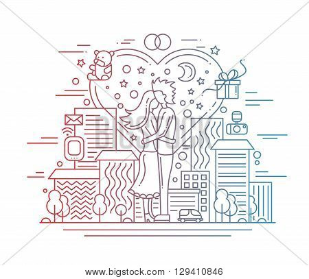 Illustration of vector modern line flat design love and marriage proposal composition with cityscape and infographics elements - gradient color