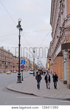 St. Petersburg, Russia - March, 13, 2016: View of Nevskiy prospect, St. Petersburg, Russia