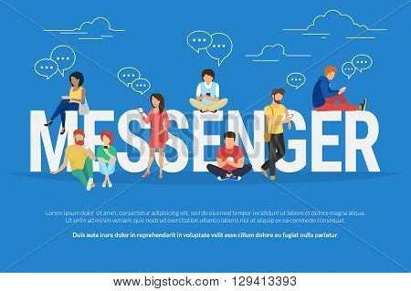 Messenger concept illustration of young various people using mobile gadgets such as tablet pc and smartphone for texting via internet. Flat design of guys and women standing near big letters