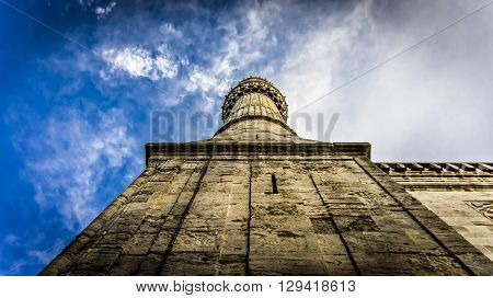 Istanbul, Turkey - February 9, 2013: The minaret of Blue Mosque (Sultanahmet Cami) in Sultanahmet, Istanbul, Turkey