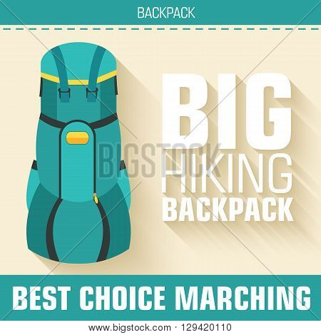 Flat Colorful Vector Tourist Backpack Equipment Set. Icons Background Concept Design