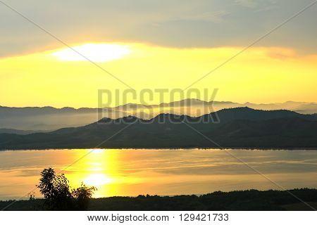 Sunset at scenic point of Khao Fha Chee RanongThailand.