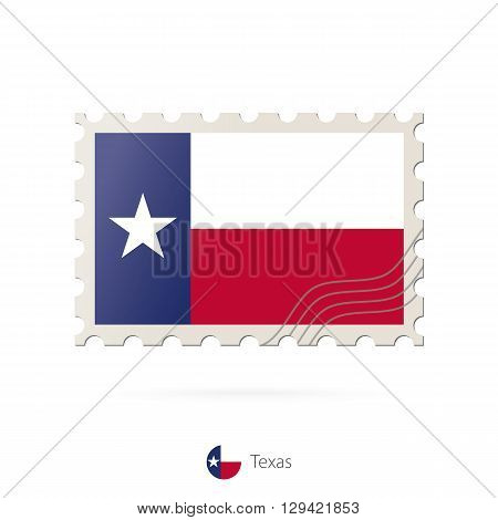 Postage Stamp With The Image Of Texas State Flag.