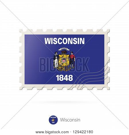Postage Stamp With The Image Of Wisconsin State Flag.