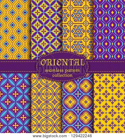 Eastern seamless pattern set. Vector collection of stylized oriental ornaments. Trendy abstract backgrounds.