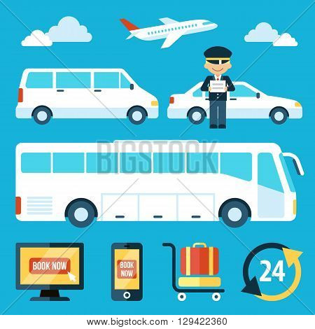 Vector set of airport transportation service icons with chauffeur character. Flat style. Eps 10.
