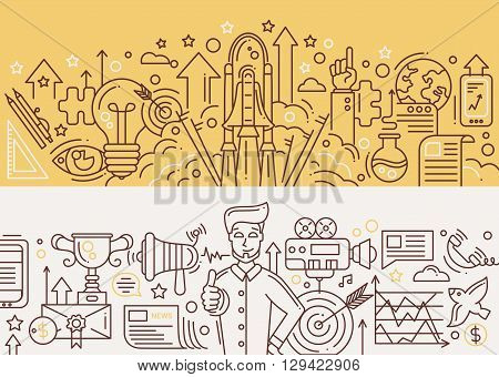 Illustration of vector modern start up, marketing success line flat design composition and infographics elements with a shuttle launch scene, a happy successful man with promotion tools. Header, banner for your website