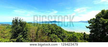 Panorama High angle view sea sky and seaside tourist town of Ao Chalong bay from Khao-Khad mountain viewpoint famous attractions in Phuket island Thailand