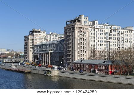 MOSCOW, RUSSIA - APRIL 12, 2016: A view of the Moscow State Estrada Theatre the former First House of Soviets Bersenevskaya embankment 20/2 built in 1927-1931 years