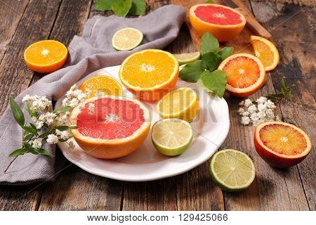 orange,lemon and grapefruit