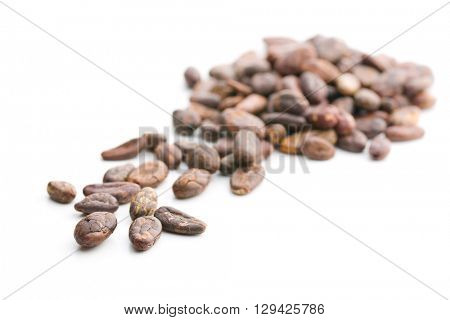The peeled cocoa beans. Tasty cacao beans isolated on white background.