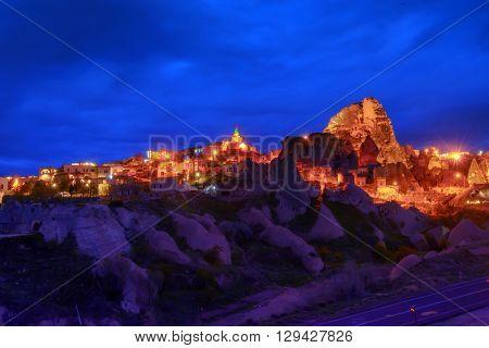 Uchisar castle in Cappadocia, Turkey.